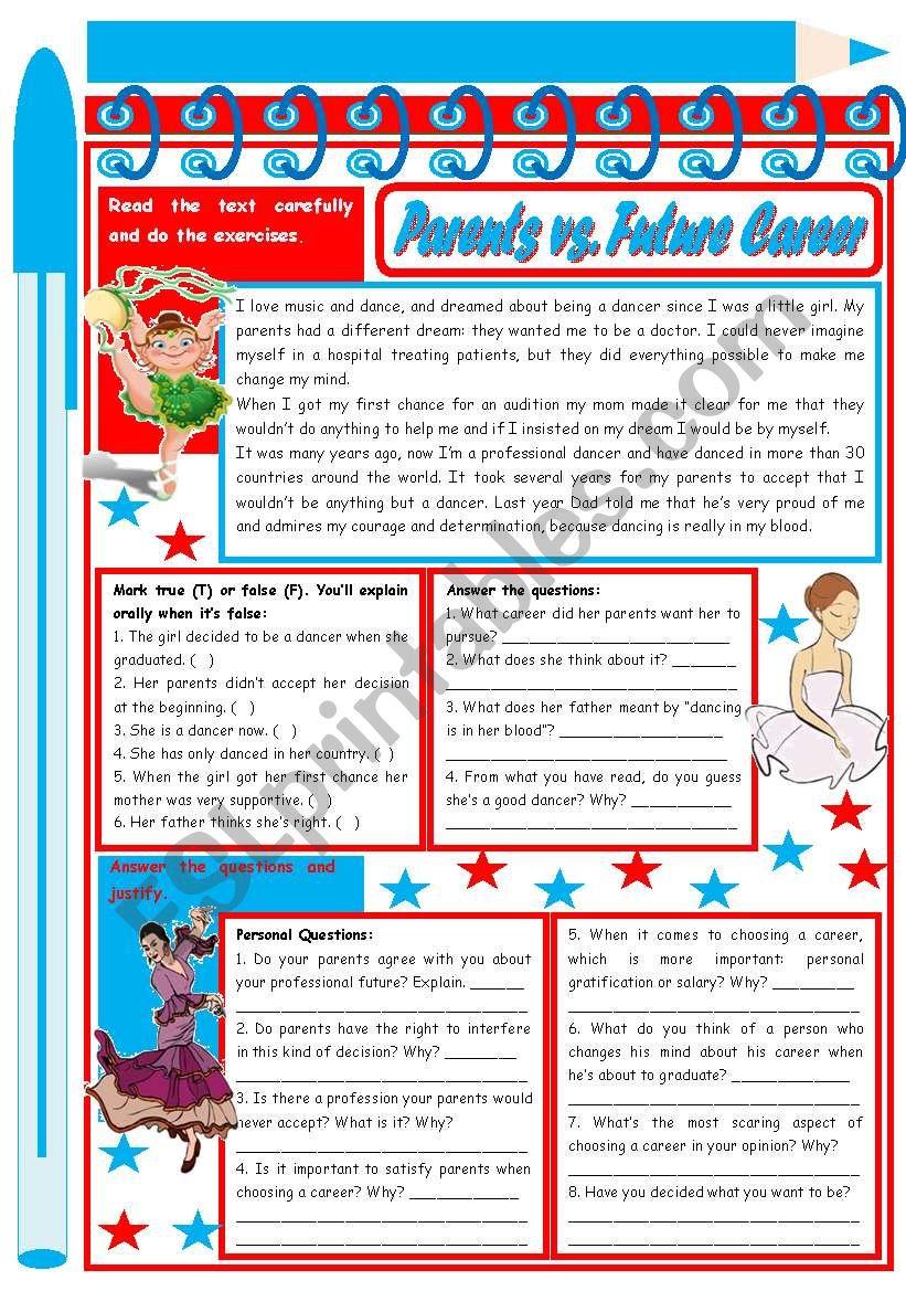 Parents vs. Career – Reading Comprehension + discussion [3 tasks] ***editable